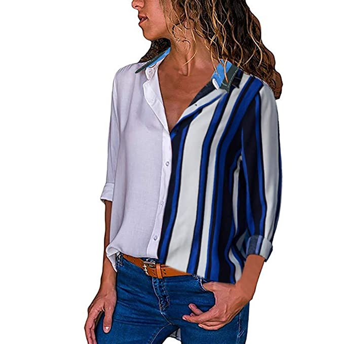 CICIYONER Para Mujer de Manga Larga Color Block Stripe Button Camisetas Tops Blusa (S,