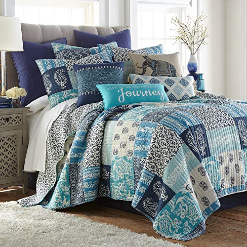 Levtex Home Chandra F/Q Quilt Set, Patchwork, 100% Cotton, Indigo, Teal, Cream
