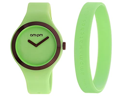 Reloj AM: PM Club Hombre Mujer Solo Tiempo goma silicona verde 42 mm pm158-u367-k1: Amazon.es: Joyería