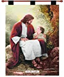 "Manual Inspirational Collection 26 x 36 Inch Christian Hanging Multicolor Woven Wall Art Tapestry Décor with Finial Rod, ""In His Light"" by Greg Olsen, Portrait of Jesus & Small Child"