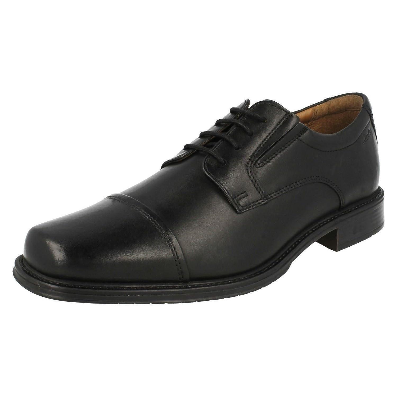 Clarks Driggs Cap Black Leather Mens Shoes