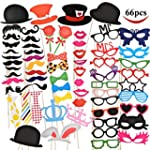 Joyin Toy 66 Pieces Photo Booth Props Party Favor for Wedding Party Graduation Birthdays Dress up Accessories Costumes with Mustache Hats Glasses Lips Bowler Bowties on Sticks
