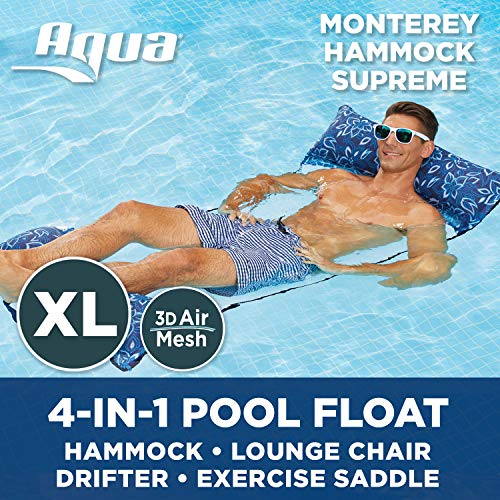 Aqua 4-in-1 Monterey Hammock XL Supreme, Inflatable Pool Chair (Saddle, Lounge Chair, Hammock, Drifter), Adult Pool Float, Water Hammock, Soft Fabric Covered Air Pillows