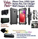 Value Pack + for 5'' Motorola moto E4 moto G5 Case Crystal Belt Holster Phone Case 360° Cover Screen Protector Kick stand Armor Shock Bumper (Black)