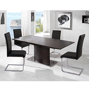 Set of 4 Chairs High Back Dining Stylish Faux Leather Chairs Home ...