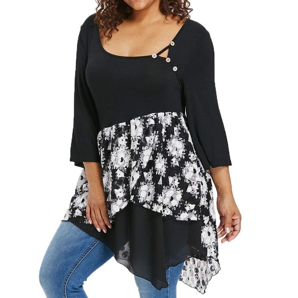 Felpe Donna, Hanomes Fashion Donna Manica 3/4 Taglie Forti Sovrapposizione Floreale T-Shirt Asimmetrica Camicetta