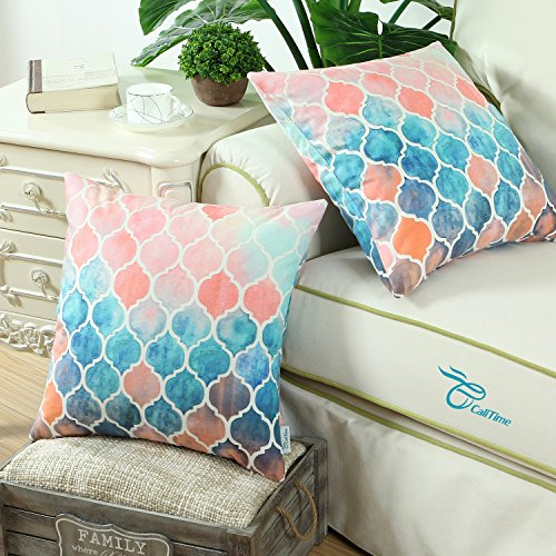 Pack of 2 CaliTime Cozy Throw Pillow Cases Covers for Couch Bed Sofa, Manual Hand Painted Colorful Geometric Trellis Chain Print, 22 X 22 Inches, Main Peach Teal Orange