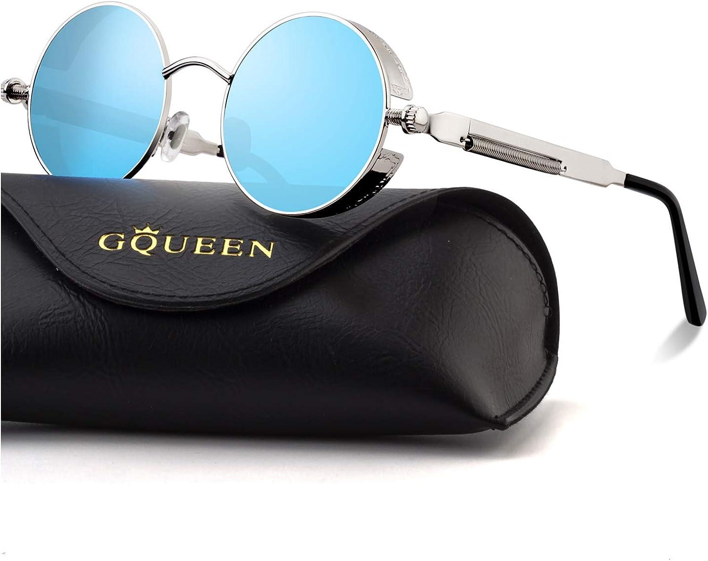 GQUEEN Steampunk redonda Retro Metálico gafas de sol polarizadas para hombres y mujeres con protección UV400 MTS2