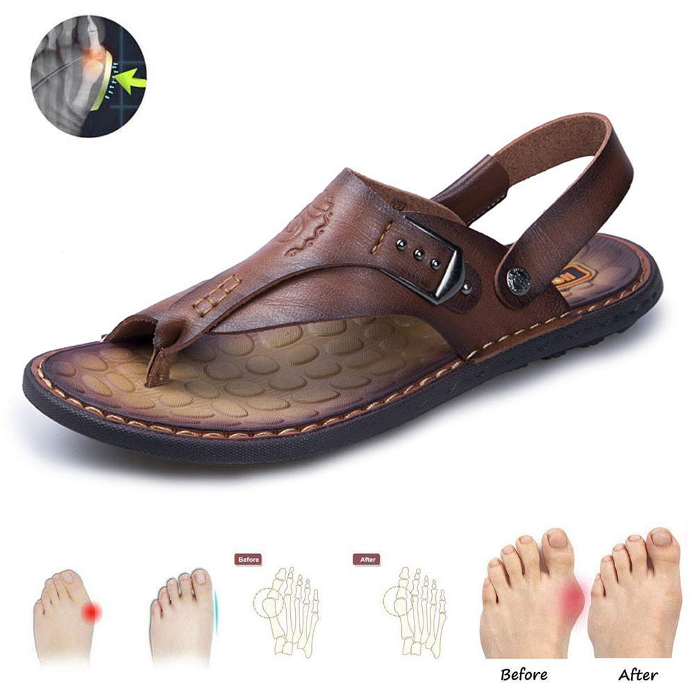AUZZO HOME Men Correction Bunion Sandals Corrector Foot Correction Sandal Non Slip Wear Resistant Beach Travel Comfortable Slippers for Big Toe Foot Correction,Darkbrown,44
