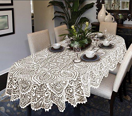 MforStyle - Mantel de encaje grande, ovalo o redondo, de alta calidad, color blanco o beige, Blanco, 63 (160cm) Ro