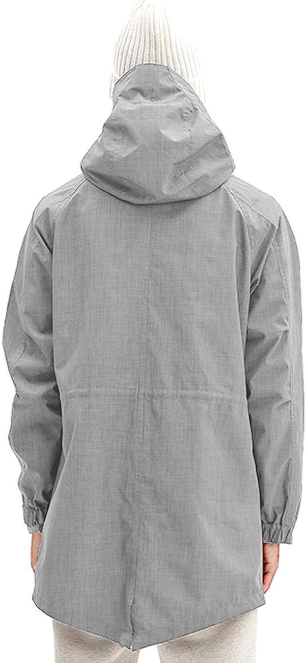 poriff Mens Rain/Jacket Waterproof with Hood Long Multi Jacket Urban Outdoor