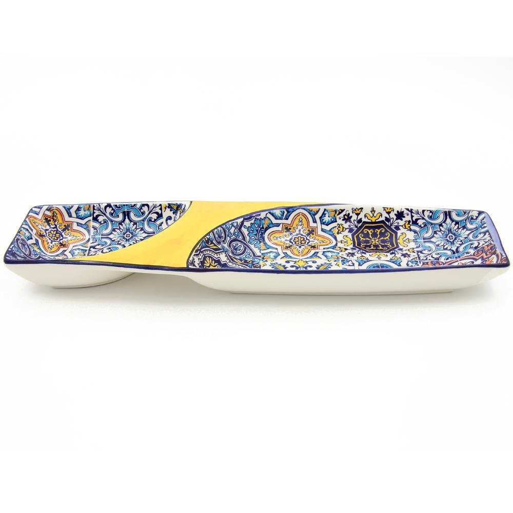 Large Hand-painted Traditional Portuguese Ceramic Olive Dish