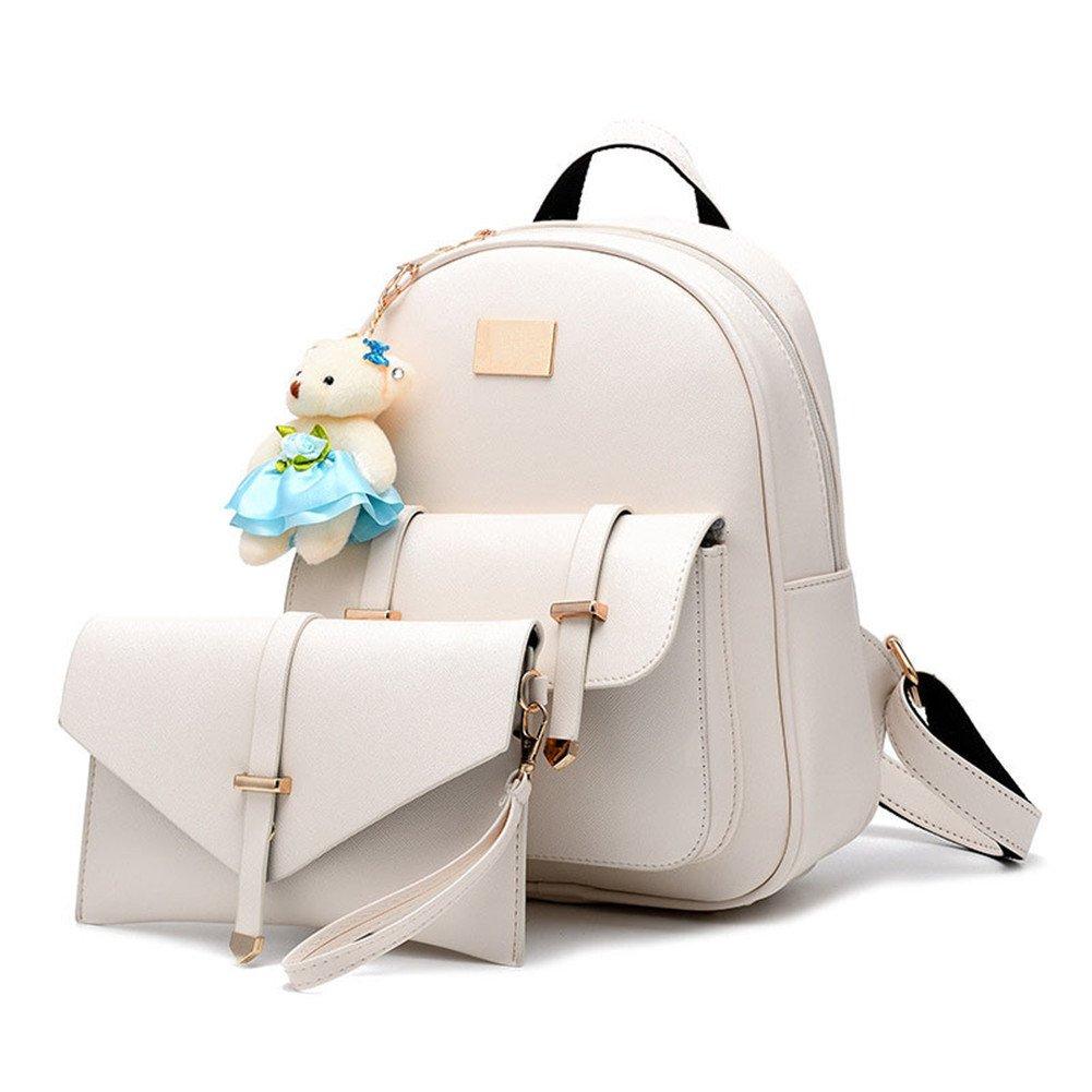 Hynbase 2 Pieces Per Set Women Fashion Retro Cute Korean Summer Schoolbag Backpack Shoulder Bag