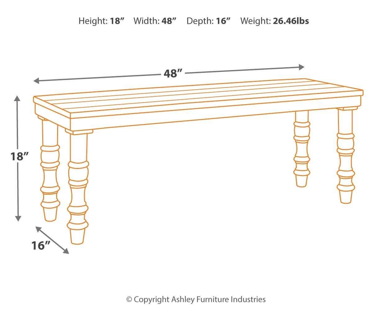 Signature Design by Ashley A3000160 Dannerville Accent Bench, Black by Signature Design by Ashley (Image #5)