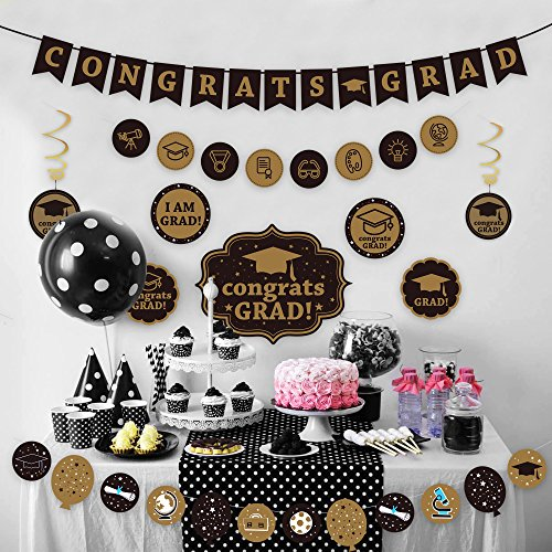 KALEFO Classy Graduation Banner - 2019 Graduation Party Supplies for Graduations Decorations and Grad Party Decor for Seniors, High School or Prom