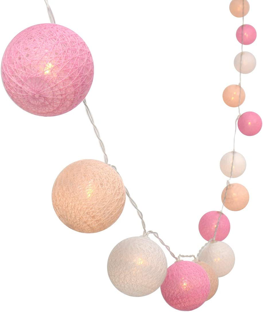 Gardeningwill 3M 10Ft 30 Pink White Cotton Ball LED Xmas Wedding Battery Operated String Fairy Light
