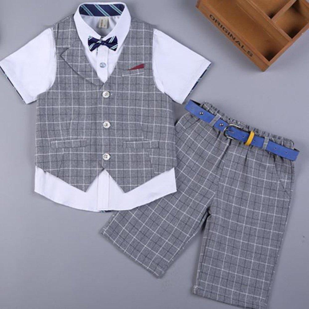 LOLANTA 4 Pieces Boys Summer Wedding Leisure Suit Vest Shirt Short with Bowtie (Grey, 6-7) by LOLANTA (Image #4)