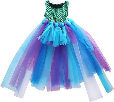 Kaizizizi Vestido de Fiesta para niña Sirena, Traje + tutú de Tul ...
