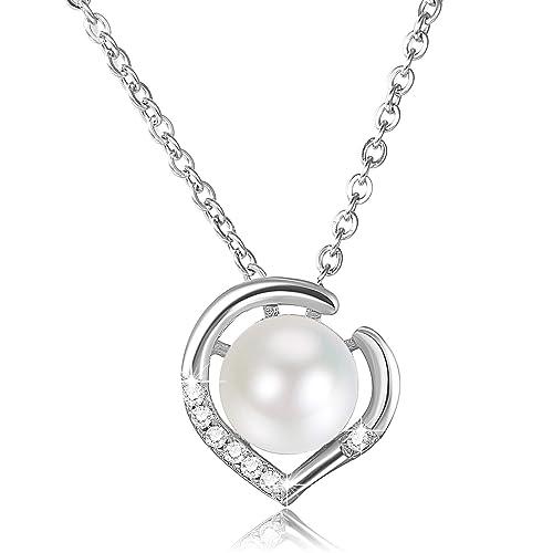 e2dd53910a4fd Bijoux Fantaisie Collier Pendentif Perle Argent 925 Zircon Femme Forme  Coeur Cadeau Femme Fille Petite Aime