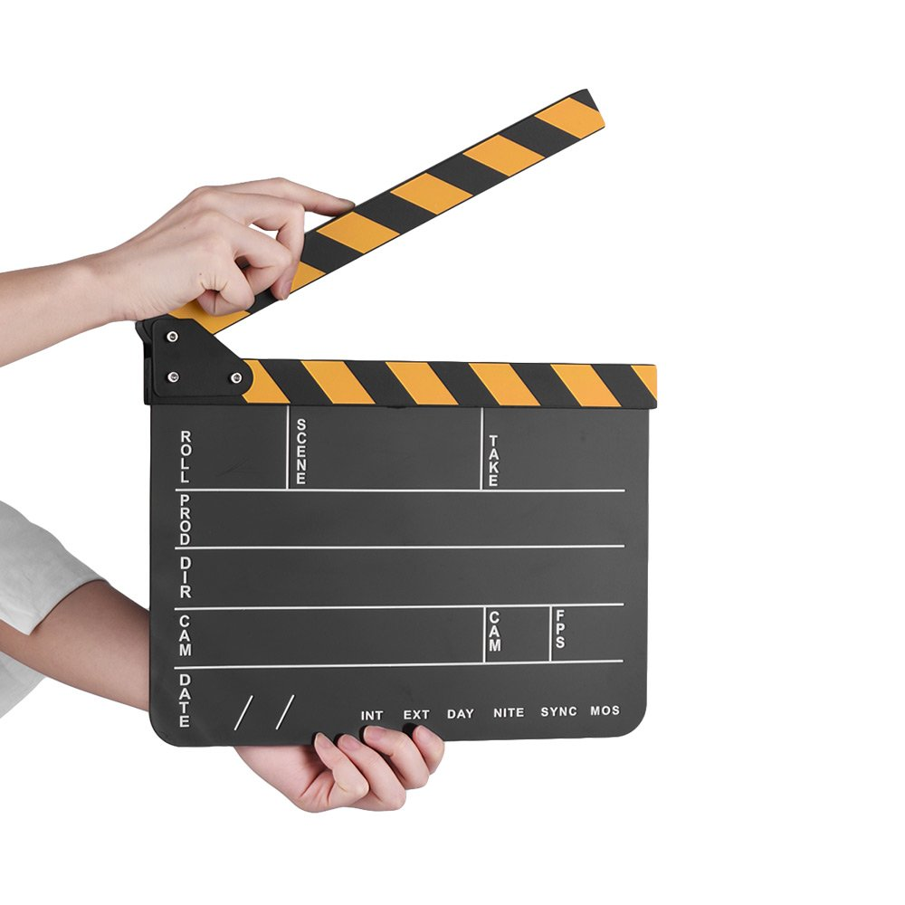 Andoer Dry Erase Acrylic Director Film Clapboard Movie TV Cut Action Scene Clapper Board Slate with Yellow/Black Stick, Black