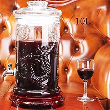 Bebidas de cerveza Dispensador de bebidas de vidrio con grifo, soporte, 4L, 5L, 6L, 7.5L, 10L , 10: Amazon.es: Hogar