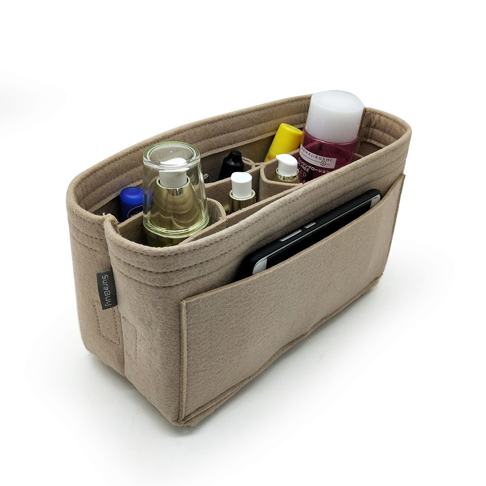 Felt Purse & Tote Organizer Insert / Multi-Pocket Handbag Shaper New 2018 SureBuy (Beige)