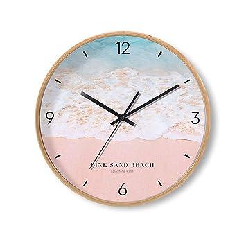 Sunjun 12 Pulgadas Reloj de Pared de Madera Maciza Silencio Redondo Sin Tictac Reloj de Diseño