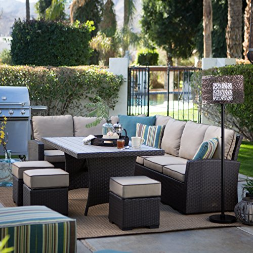 Amazon.com : Dark Brown Modern All Weather Wicker Aluminum Sofa Sectional  Patio Dining Set | Perfect Contemporary Cushioned Sofa, Right U0026 Left Arm ...