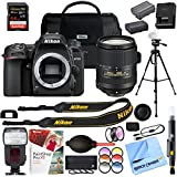 Nikon D7500 DX-Format Digital SLR 20.9MP Camera with AF-S 18-300mm f/3.5-6.3G ED VR Lens and 64GB SDXC UHS-1 Memory Card Extra Battery Kit Case Tripod Cleaning Accessories Bundle