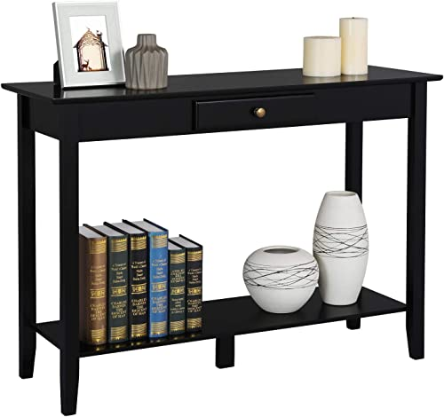 Yaheetech Console Sofa Table with Drawer and Shelf, Narrow Occasional Table for Living Room Entryway Hall Table, Black