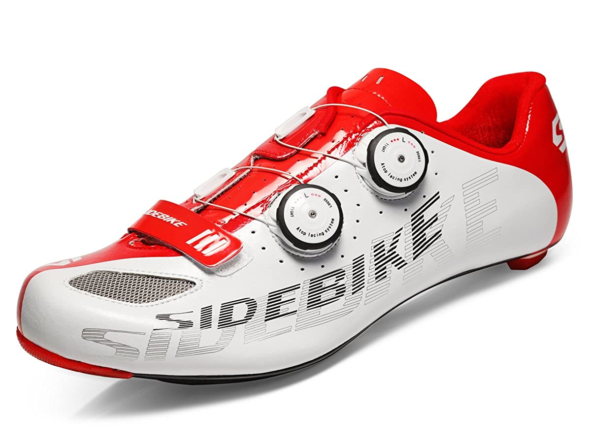 SIDEBIKE Carbon Fiber Cycling Shoes for Road Reel Knob Speed Lacing System Breathable 002W B07F2GTTGK Parent