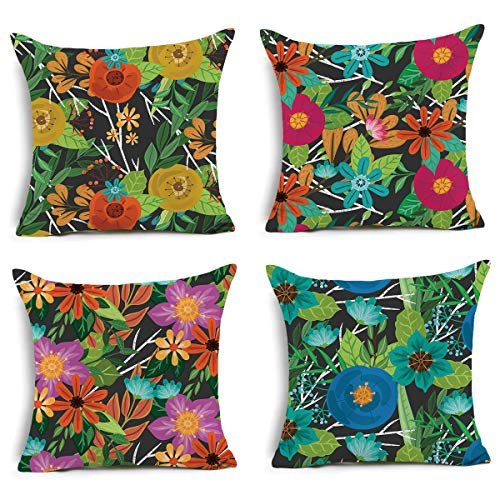 - Floral Decorative Throw Pillow Covers - Hand Painted Flower Cushion Cover, 18 x 18 inch Pillowcase Holiday Home Decoration Set of 4