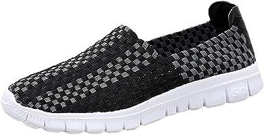 Calzado De Trabajo Mujer YiYLunneo Zapatos Tejidos Pisos Mujer Sneakers ResbalóN HolgazáN Zapatillas Zapatos Planos Resistentes: Amazon.es: Ropa y accesorios