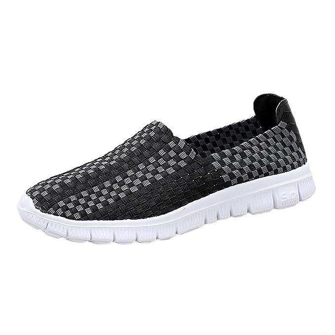 Calzado De Trabajo Mujer YiYLunneo Zapatos Tejidos Pisos Mujer Sneakers ResbalóN HolgazáN Zapatillas Zapatos Planos Resistentes: Amazon.es: Ropa y ...