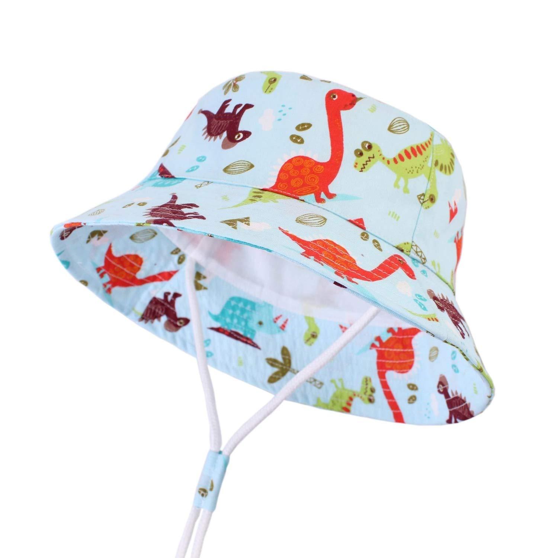 Wide Brim Kids Sun Hat Dinosaur Boys Hat Summer Baby Cap Sun Protection,Pale Pinkish Grey,XL 54cm for 4-6Y