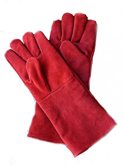 ovens BBQ Aga can be PERSONALISED Leather heat resistant Gloves log burner
