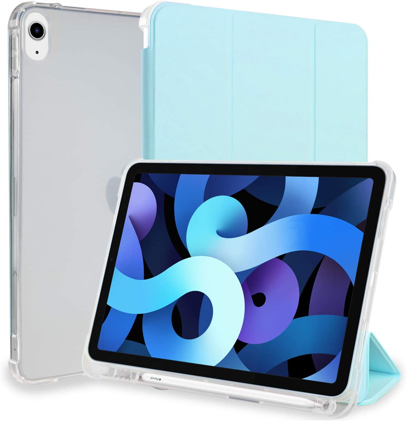 Neepanda Case for iPad Air 4th Gen 10.9 Inch 2020 with Pencil Holder, [Supports 2nd Gen Pencil Charging] Soft TPU Translucent Frosted Back, Smart Trifold Stand Cover Case, Sky Blue