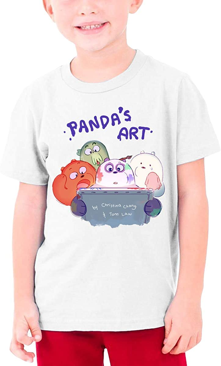 Juwuwenhuachua Design We Bare Bears Funny Tshirts Short Sleeve for Minor Black