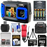 Coleman Duo 2V9WP Dual Screen Shock & Waterproof Digital Camera (Blue) with 32GB Card + Batteries & Charger + Case + Float Strap + Kit