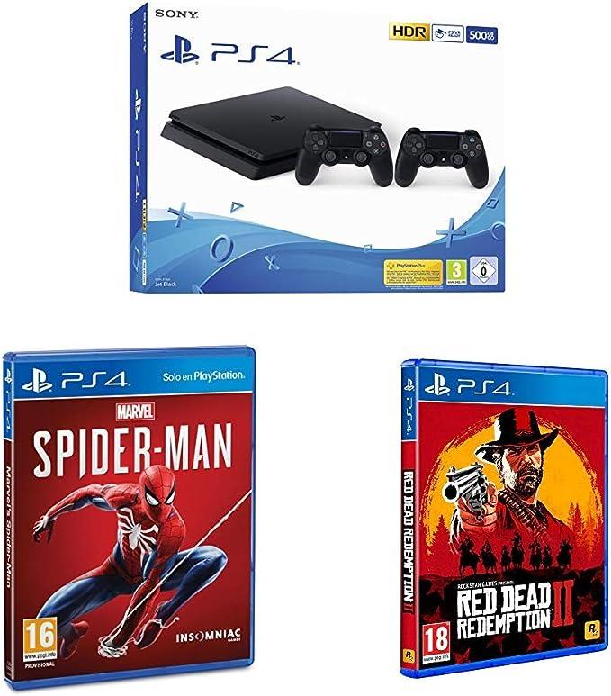 Playstation 4 (PS4) - Consola 500 Gb + 2 Mandos Dual Shock 4 (Edición Exclusiva Amazon) - nuevo chasis F + Marvel´s Spiderman + Red Dead Redemption 2: Amazon.es: Videojuegos