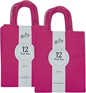 Gift Expressions 24CT Medium Magenta Biodegradable, Food Safe Ink & Paper, Premium Quality Paper (Sturdy & Thicker), Kraft Bag with Colored Sturdy Handles (Medium, Magenta)