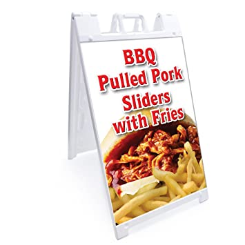 "A-frame Bbq Pork Sliders Sign With Graphics On Each Side | 24"" X"
