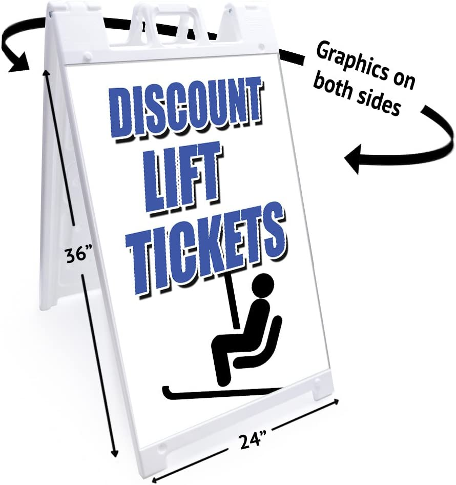 """Lift Tickets 24 X 36 Print Size 24/""""x36 SignMission A-Frame Sidewalk Sign with Graphics On Each Side Heavy Duty"""