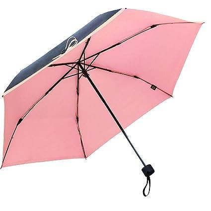 DUHUI Protección Solar Paraguas Hombres y Mujeres Luz Pequeño Paraguas plástico Rosa Anti-UV Paraguas