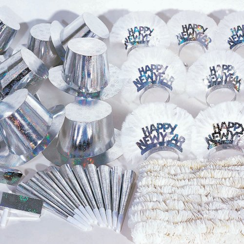 60 Piece New Year's Silver Holographic Party Kit