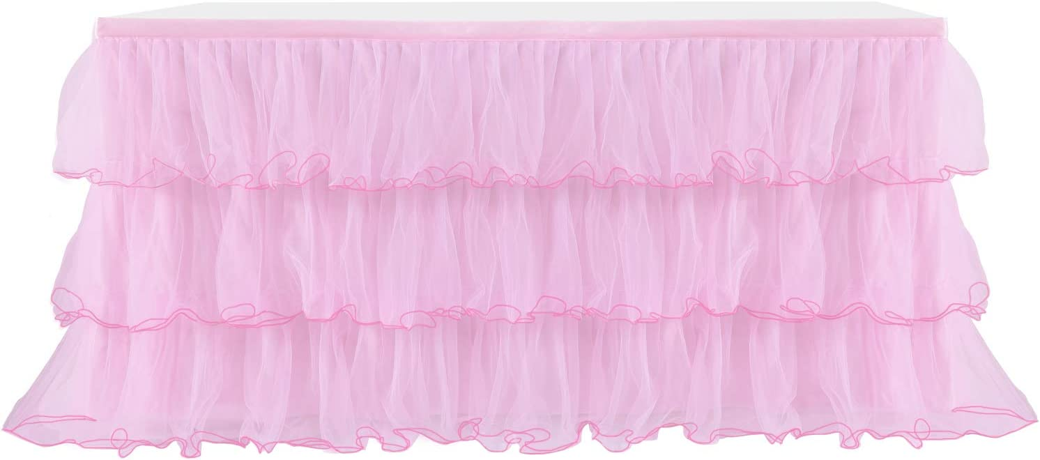 Yetomey Table Skirt for Rectangle or Round Tables Skirting DecorationTutu Table Skirt for Birthday, Wedding Party, Home Decoration & Baby Shower (Pink, L 72in×H 30in)