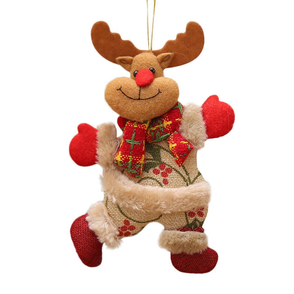 Taggmy Decorations for Christmas Home Tree Ornaments Xmas Gift Party Santa Claus Snowman Reindeer Toy Doll Hang Deco (C)
