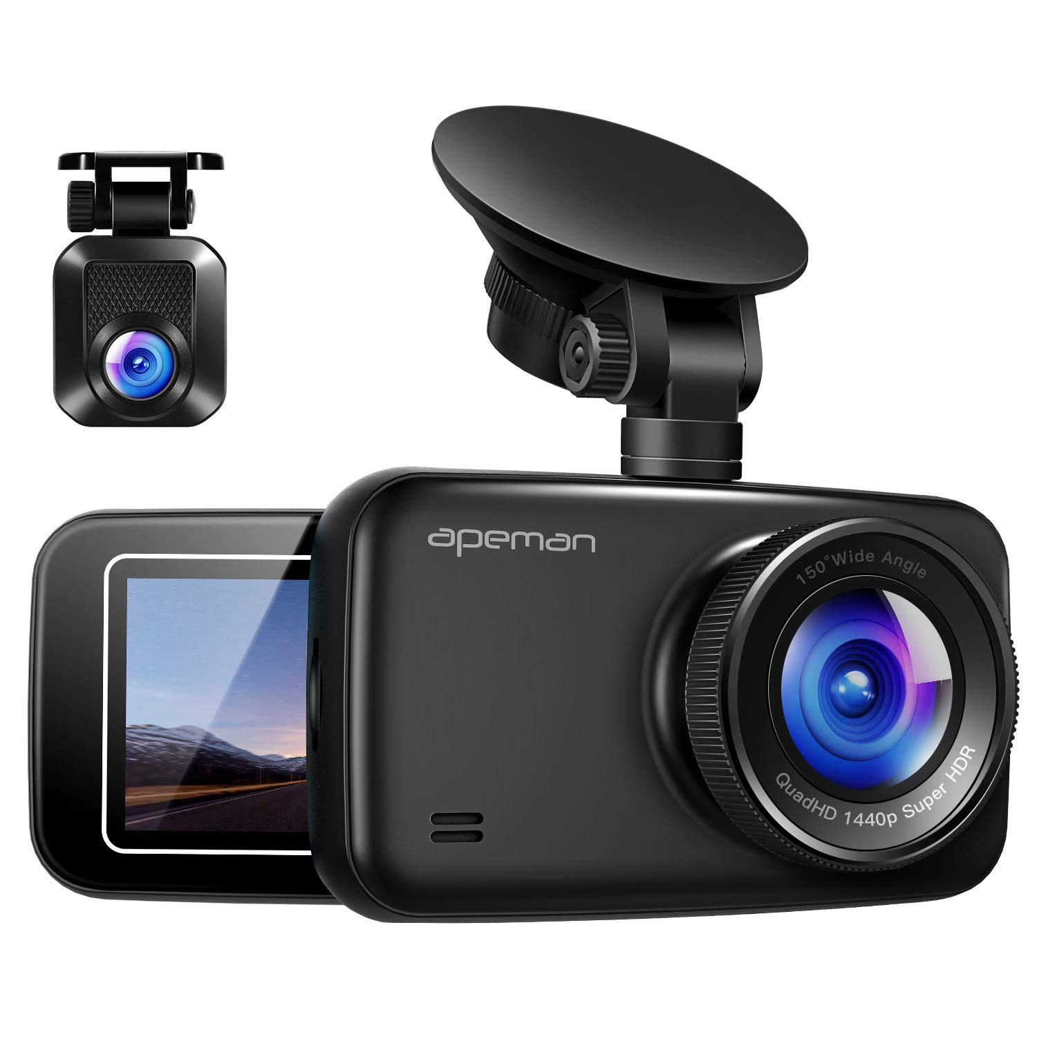 APEMAN 1440P&1080P Dual Dash Cam FHD Front and Rear Camera for Cars, Support 128GB max, Driving Recorder with IR Sensor Night Vision, Motion Detection, G-Sensor, Parking Monitor by APEMAN