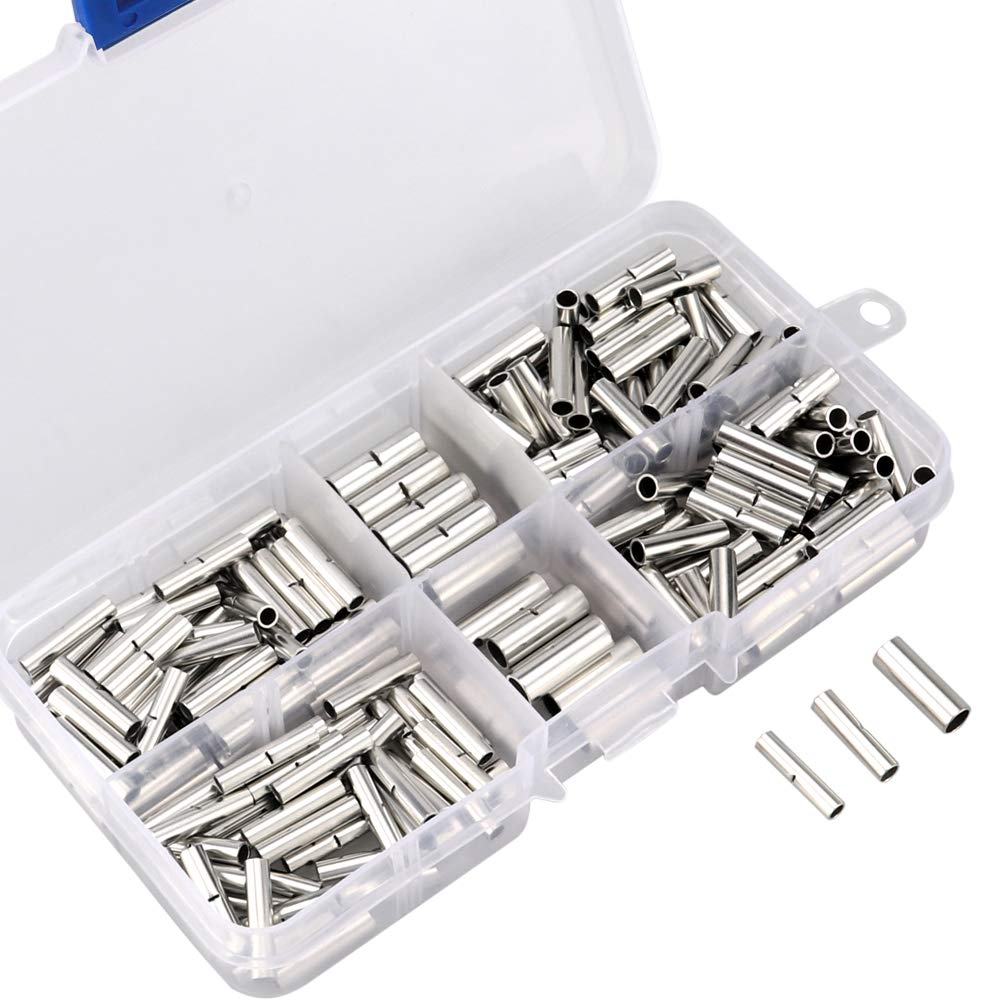 220pcs Non-Insulated Butt Connectors, 22-18/16-14/12-10 AWG Gauge Uninsulated Electrical Wire Ferrule Cable Crimp Terminal Kit with Storage Case for DIY by MILAPEAK