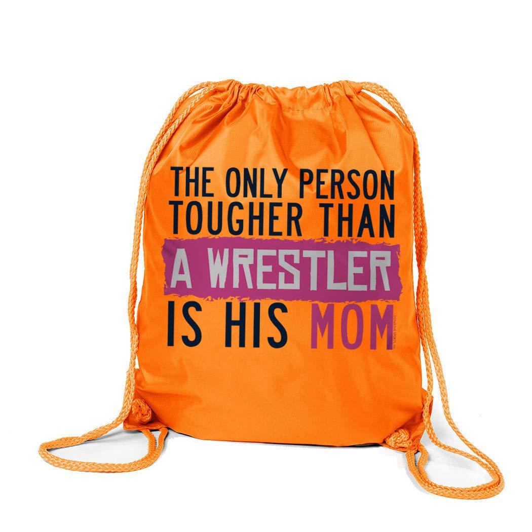 Kelly Green ChalkTalkSPORTS Wrestling Sport Pack Cinch Sack Tougher Than A Wrestler Mom